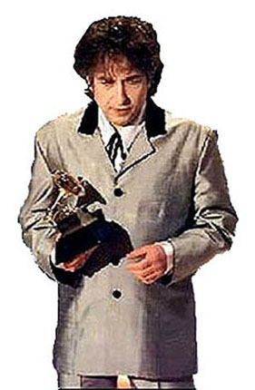 [Dylan holding  the 1998 Grammy Award for Best Album, which he received for Time Out Of  Mind]